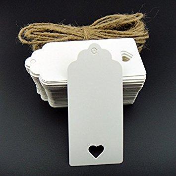 Bigliettini di carta kraft da personalizzare, 50 pezzi, per confetti, regali, fai da te, valige, prezzi, ecc., forniti con filo di juta da 10 m, White, 90mm*40mm with heart