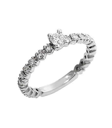 Anello fedina in oro bianco 18k con diamanti - 15