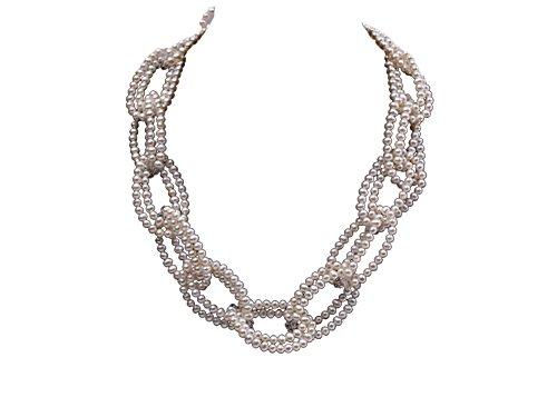 JYX 4-5mm Süßwasser Perle und Kristall Perlen Halskette 21 zoll - Perle-perlen-halsketten-bulk