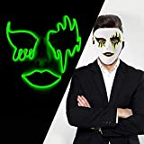 LUXACURY Decorazioni Natalizie Costume Masquerade Party Cool Mask Halloween Cosplay Party Mask LED El Wire Light Up Maschera per Festival Feste Natalizie Halloween Makeup Party Decor