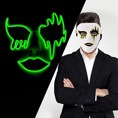 LUXACURY Maskerade Party Cool Mask Weihnachtskostüm Dekor Halloween Cosplay Party Maske Led EL Draht leuchten Maske für Festival Weihnachtsfeiern Halloween Makeup Party Dekoration (Cool El Draht)