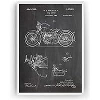 Harley Davidson Cycle Support 1928 Poster de Patente - Patent Póster Con Diseños Patentes Decoracion de Hogar Inventos Carteles Prints Wall Art Posters Regalos Decor Blueprint - Marco No Incluido