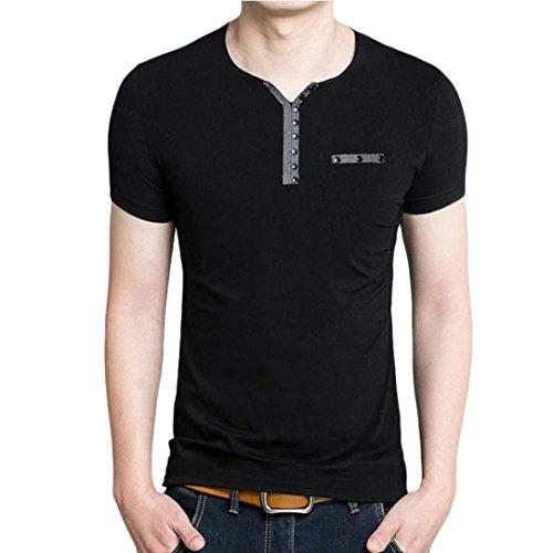 tefamore-camiseta-de-manga-corta-para-hombre-ajustado-cuello-v-ocasionales-tamanoxxl-negro