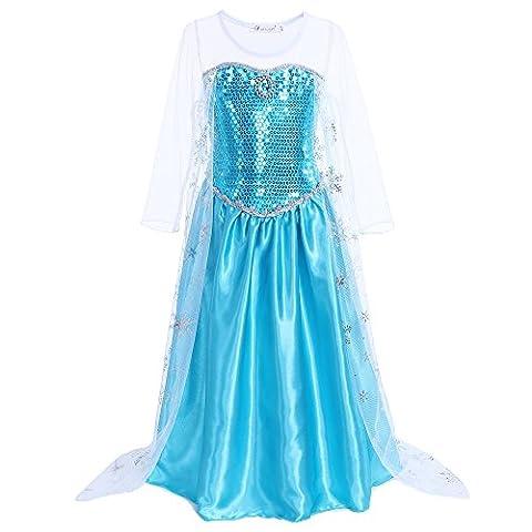 Pettigirl Mädchen Kostüm Schneeflocke Glänzende Prinzessin Kleid Halloween Karneval 7 Jahre (Halloween-kostüme Für Zwei Kinder)