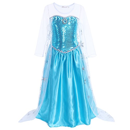 Pettigirl Mädchen Kostüm Schneeflocke Glänzende Prinzessin Kleid Halloween Karneval 7 Jahre (Schule Mädchen Halloween Kostüm Für Kinder)