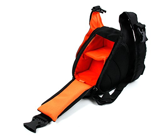 DURAGADGET Petit Sac à Dos Noir/Orange Triangle pour Nikon KEYMISSION 170 & KEYMISSION 80, Sony HDR AS20V - Multi-Poches et séparateurs