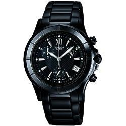 SHEEN SHE-5516BD-1ADR - Reloj analógico de cuarzo para mujer con correa de acero inoxidable, color negro