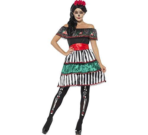 Smiffys Damen Tag der Toten Senorita Puppen Kostüm, Kleid, Gürtel und Kopfband, Größe: 48-50, 48077