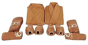 Koyoka Men's & WoMen's Brown Bathrobes set (8 Pcs)