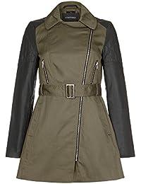 Anastasia - Khaki Jacket with PU Sleeves