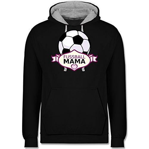 Muttertag - Fußball Mama - Kontrast Hoodie Schwarz/Grau Meliert
