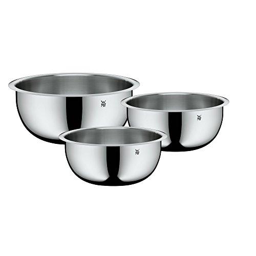 WMF Function Bowls Schüssel-Set, für die Küche 3-teilig (V 1, 25 l, 1,75 l, 4,25 l) Cromargan Edelstahl multifunktional als Rührschüssel Salatschüssel Servierschüssel, stapelbar