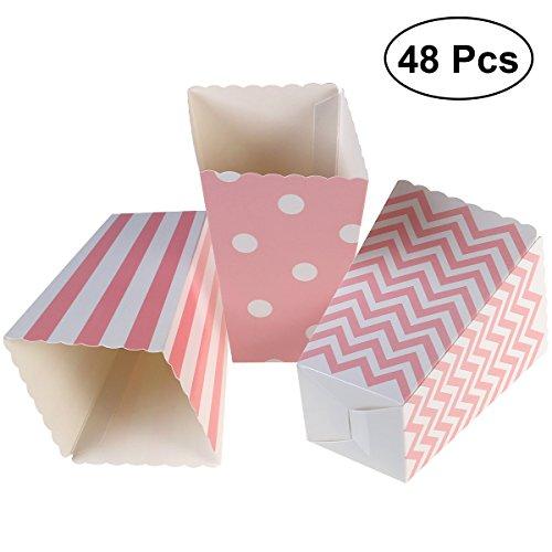 TOYMYTOY 48pcs Popcorn Carton Rugby Streifen Wellen Punkt Partei Süßigkeits Behälter (hellrosa)