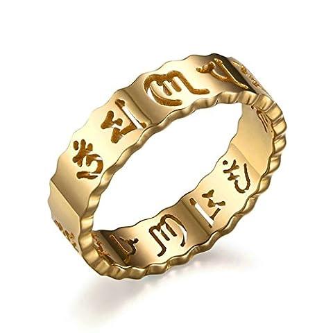 Aooaz Anneau De Gravure Gratuit 5Mm Femmes Anneau En Acier Inoxydable Gold Plaated Hollow Out Lucky Bague Bague Taille 51.5