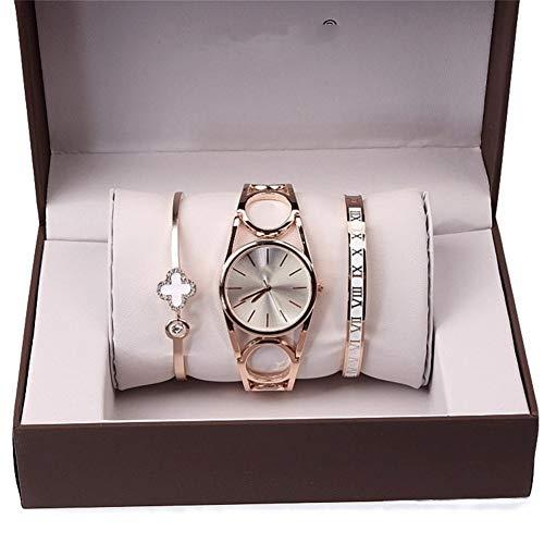 Weiß 3 Stück Anzug (HDUSHA Damenuhren Dreiteilige Sets Uhren Armbänder Armbänder Circles Hollows Frauen Quarz Uhren Weiß DREI Stück Anzug)