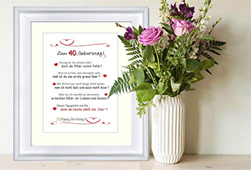 """""""Herzlichen Glückwunsch zum 40. Geburtstag"""" - personalisierbarer Kunstdruck als Geschenk zum 40. Geburtstag - 24 x 30 cm mit Passepartout - ohne Rahmen"""