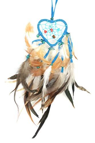 Piquaboo - Atrapasueños Tradicional con Forma de corazón para Colgar en el Coche, 30,5 cm de Largo, Azul, 6.5x30 cm