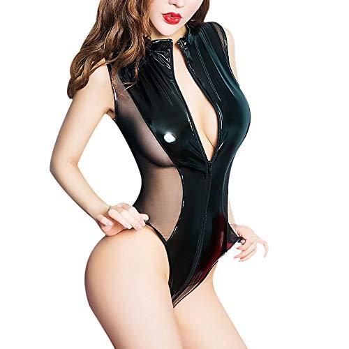 Damen Desous Bodysuit Leder,Sunday Frauen Reizwäsche Patchwork Jumpsuit mit Reißverschluss Unterwäsche Clubwear Cosplay Kostüm