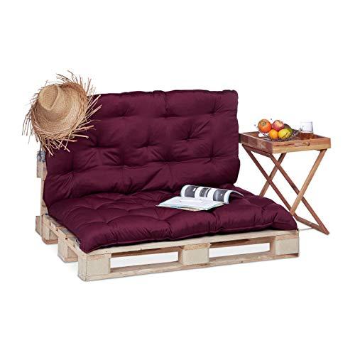 Relaxdays Cojín de Exterior para Palés con Respaldo, Poliéster y Algodón, Rojo, 10x114x135 cm