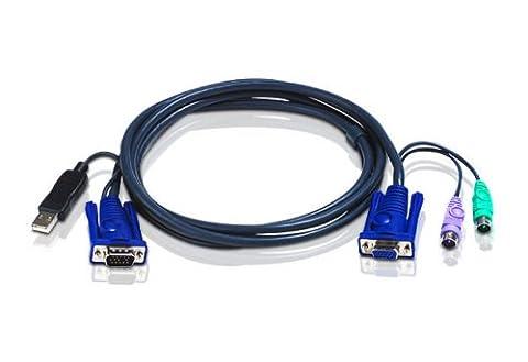 Aten 2L-5506UP Cordon Pieuvre USB vers PS2 pour CS14C/CS82AC/CS84AC 6 m Noir