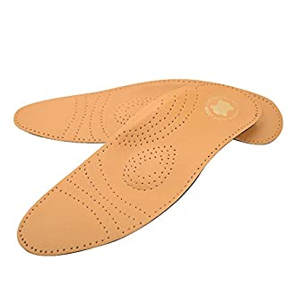 asiv Orthotic Insoles Full Length in Leather, with Support Plantar Foot Reduce Pain, Arch Pads for Pain Relief EU 45/46