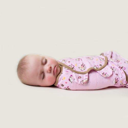 Summer Infant SwaddleMe - Jungle Hunnies (Large) Pucksack, Grösse Large (rosa Äffchen)