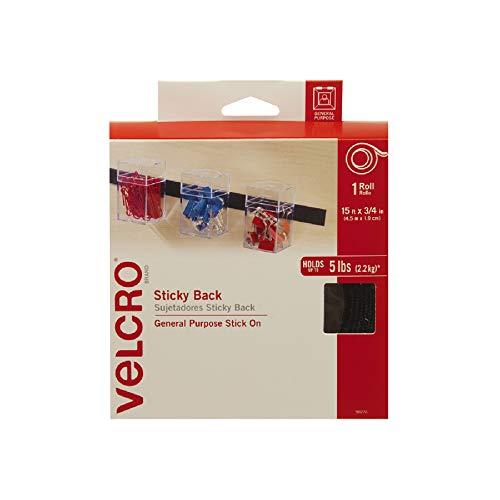 Velcro (R) Marque Attaches 3/4 x 38 Ruban Dos adhésif, Noir