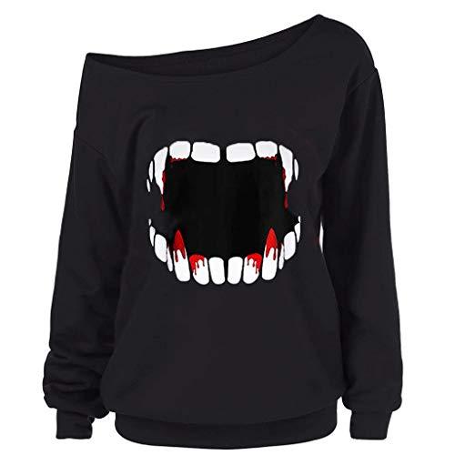 SEWORLD Halloween Kostüm Damenmode Halloween Gothic Punk Teufel Zähne Gedruckt Skew Kragen Bluse Shirt Sweatshirt Langarm Oberteil Kapuzen Hoodie Pullover Blusenoberteile(Schwarz2,EU-38/CN-L)