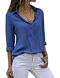 Cassiecy Womens Casual Chiffon V Neck Long Sleeve Button Down Blouse Solid Color Shirts Top