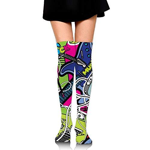 Nicegift Guitars Women Fashion Thigh High Socks Thermal Socks For Ladies 19.7 inch Half Zip Thermal