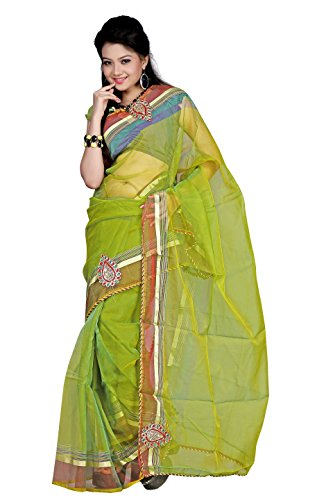 Florence Green Tissue Embroidered Saree