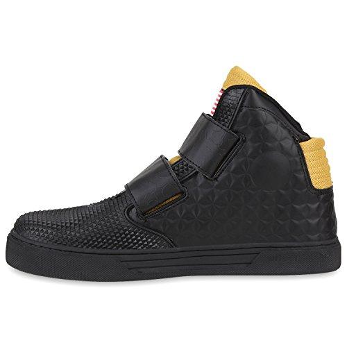 Sportliche Herren Damen Unisex Sport Schuhe Sneaker High Top Basketballschuhe Cultz 90's Style Schwarz Gold US