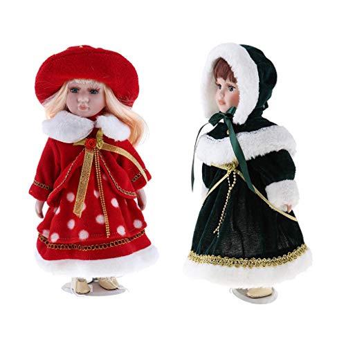 Unbekannt Baoblaze 2 STK. 30cm Porzellan-Puppe mit Halterung - hübsche Viktorianische Mädchen Puppe mit Kleidung (Hübsches Puppen Porzellan)