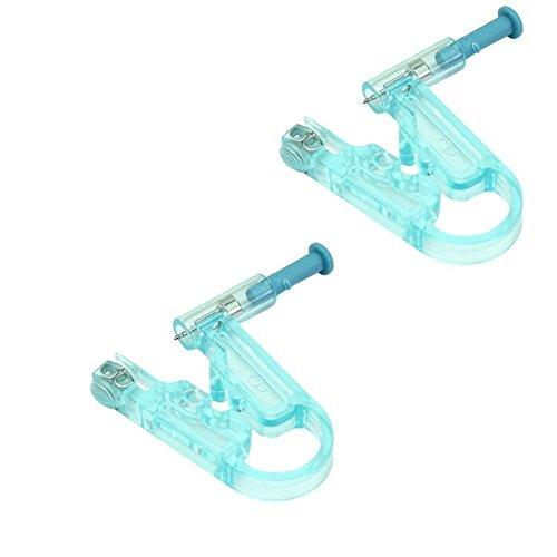 Romote 2X Einweg-Ohr-Piercing mit 2 Edelstahl Ohrstecker Sicherheits Asepsis Piercing-Tool Ohr-Piercing Gun