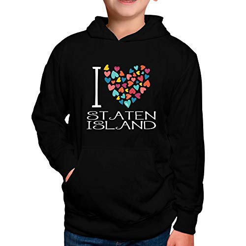 Idakoos I Love Staten Island Colorful Hearts Jungen Kapuzenpullover 6