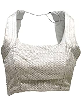 RMB3108 plata y gris listo Diseñador Hecho Sari Blouse Indian Bollywood Ready Made Blouse