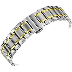 23mm Men's Luxury Heavy Solid Two Tone Silver and Gold Steel Watch Bands with Both Curved End Straight End Deployment Clasp