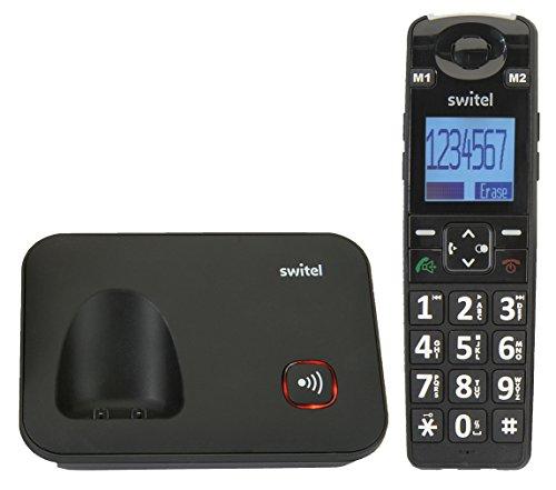 Switel D7000 Vita+ DECT Senioren-Telefon mit großen beleuchteten Tasten und großes Display Schwarz