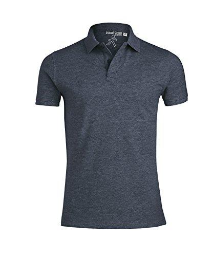 YTWOO Herren Poloshirt Aus Biobaumwolle, Poloshirt Herren Aus Baumwolle (Bio), Polo Shirt Bio, Polohemd Bio. Die Knopfleiste mit Modischen Falten Dunkelblau Meliert