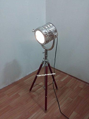 Thor Instrumente. CO Nautische Collectible Spot Suche Tisch Lampe mit Chrom Finish & Stativ Coverd mit Rot Leder Silber (Hardware Silber Leder)