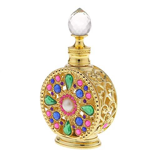 SM SunniMix 12/10ml Mini Bouteille de Parfum Vide en Verre Cristal Style Arabe Flacon Pulvérisateur Vaporisateur Rechargeable Or - 10ml