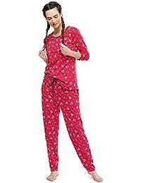 ZEYO Women's Cotton Red Feeding Night Suit | Nursing Night Dress with Floral Print | Breastfeeding Night wear| Full Sleeve Baby Feeding Top and Pyjama Set