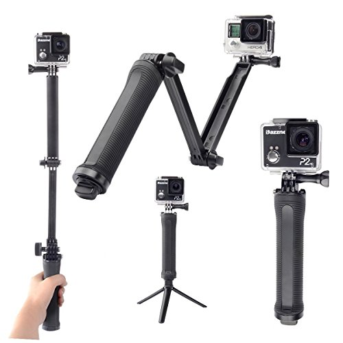 Moonlight tech impermeabile gopro 3-vie mini treppiede handheld telescopico di estensione pole stick monopiede sessione per gopro fotocamere compatte