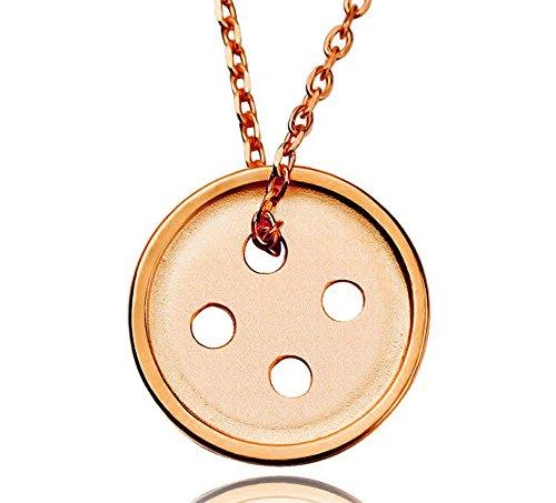 Damen Ringe Silber Münze Sterling (findout Damen Sterling Silber lucky Münze Button Anhänger Halskette für Frauen Mädchen (f1583) (Rose Gold überzogen))