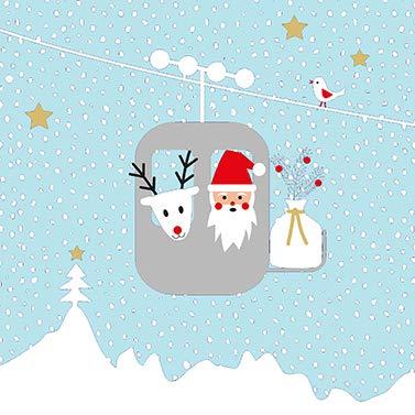 """Weihnachts-Servietten \""""Grüße von Santa\"""" mit Weihnachts-Mann & Ren-Tier - 33x 33cm - Nikolaus / Winter-Landschaft - Weihnachts-Deko / Tisch-Dekoration Weihnachten / Advent / Weihnachts-Feier / Winter (20 Servietten)"""