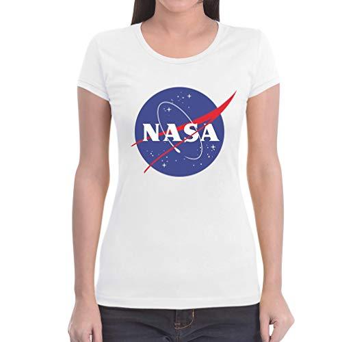 NASA Space Karneval Faschings Damen Outfit Damen T-Shirt Slim Fit Large Weiß