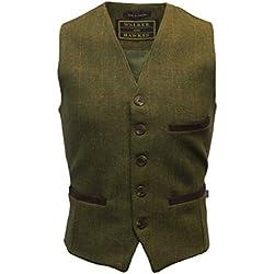 Chaleco de tweed para hombre, elegante, tejido recubierto de teflón, color salvia, tallas XS a 3XL verde Dark Sage XXL