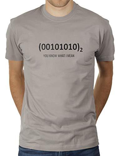 Douglas Light (Zweiundverizig - 42 - Die Antwort - Binär - You Know What I Mean - Herren T-Shirt von KaterLikoli, Gr. S, Light Gray)
