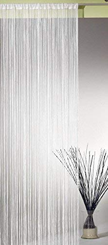 AeMBe - Fadenvorhang Fadengardine Türvorhang - 150cm X 250cm - Perlweiß - Höchste Qualität
