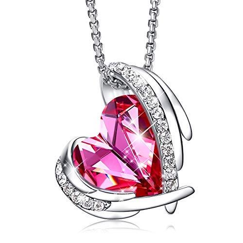 Cde collana da donna in oro bianco 18 k con ciondolo a forma di cuore con cristalli swarovski, regalo per donne, san valentino, festa della mamma, colore: rosa
